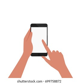 hand of african american hold smartphone and pointing on the blank screen concept vector illustration