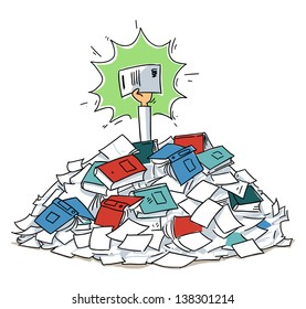 Hand with agreement reaches out from document folders heap. cartoon illustration isolated on white background