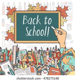 Hand amongst stationery writing on blackboard back to school. Layered vector illustration. Elements are drawn separately and can be extracted from the clipping mask.