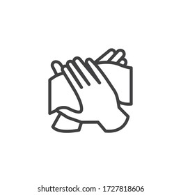 Hand antibacterial wipe line icon. linear style sign for mobile concept and web design. Hand with wet wipe outline vector icon. Symbol, logo illustration. Vector graphics