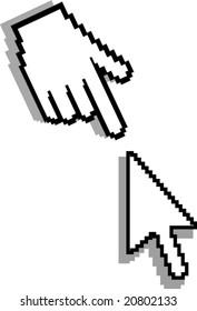 Hand and arrow cursor. Vector