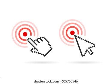 Hand arrow cursor vector icon set on white background