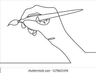 hand of the artist in a flat style holding the brush.Vector continuous line.