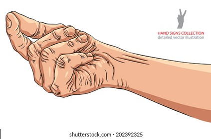 Hand asking about payment, detailed vector illustration.