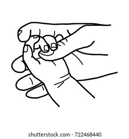 hand of baby holding mother with love vector illustration sketch hand drawn with black lines, isolated on white background