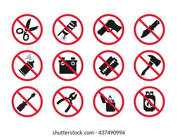 Hand baggage Prohibited Items // Airport Security icons set // 03