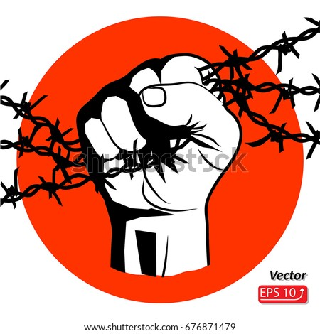 Hand Barbed Wire Clenched Fist Resistance Stock Vector (Royalty Free ...
