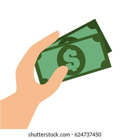 hand with bill money graphic