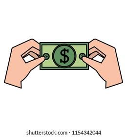 hand with bills money
