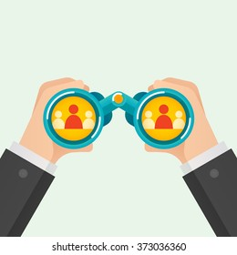 Hand and Binocular, Recruitment concept. Vector illustration