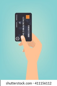 Hand with black credit card for payment on green background Vector illustration business concept design.