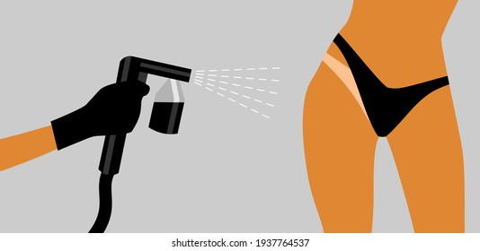 Hand in a black glove with a black spray tan machine sprays tan on a woman's body in black bikini. Vector illustration of auto tanning procedure