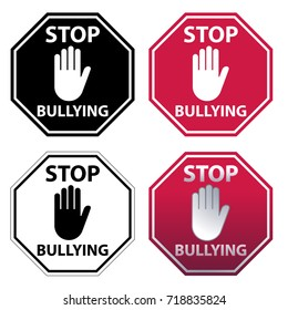 Hand blocking sign Stop Bullying Sign. Four Variations color.