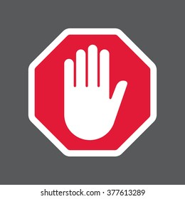 Hand blocking sign stop .Vector illustration. EPS 10.