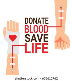 Hand of blood donor with patient hand for World Blood Donor Day poster