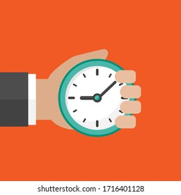 Hand with blue clock isolated on red background. Fast time stop watch, limited offer, deadline symbol. Vector illustration.