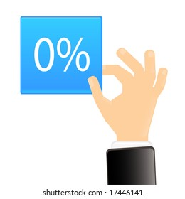 hand with blue tag showing symbol of percent, vector illustration.