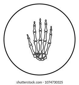 Hand bone icon black color