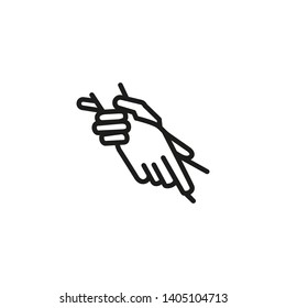 Hand bound line icon. Two hands taking each other. Friendship concept. Vector illustration can be used for topics like help, hope, support