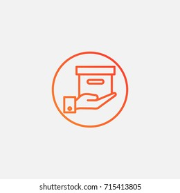 Hand in box icon.gradient illustration isolated vector sign symbol