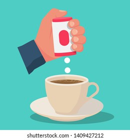 Hand with box sweetener tablets. Cup of tea or coffee. Artificial sugar. Pills stevia fall into the drink. Vector illustration flat design. Isolated on background.