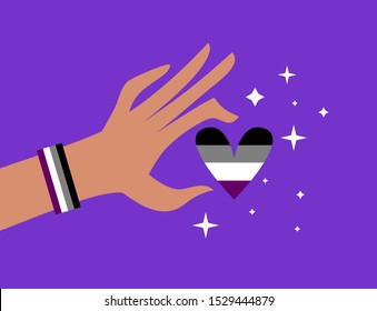 Hand in bracelet in asexual flag colors holding heart. Asexual / ace awareness and visibility week