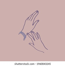 hand with bracelet and without. hand stroking. sketch of hands