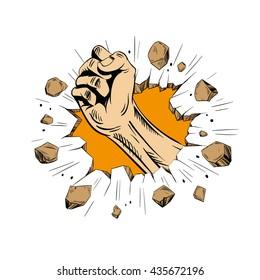Hand brakes the wall. Comics style. Hand drawn vector illustration