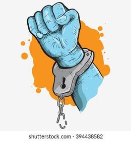 hand with break handcuff colored