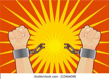 Hand breaking the chains