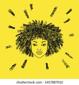 Hand brush drawn african young cute woman head in face with afro hairstyle, black girl portrait. Curly hairs, curls, ringlets, frizz. Beauty shop, barbershop salon concept sketch. Fashion illustration