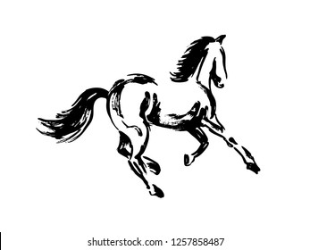 Hand brush sketch of a horse. Vector illustration