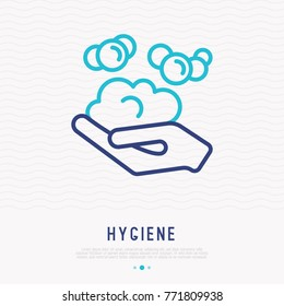 Hand with bubbles thin line icon. Modern vector illustration of washing hands, hygiene.