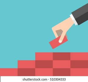 Hand building steps from red bricks. Growth, strategy and business concept. Flat design. EPS 8 vector illustration, no transparency
