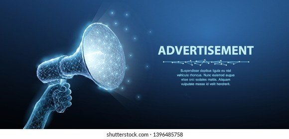 Hand with Bullhorn. Abstract vector 3d megaphone on blue background. Communication, announcement message, shout speech, warning alert concept. Promotion advertisement, marketing information symbol.