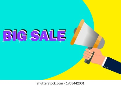 """Hand with a bullhorn on a yellow-turquoise background with the words """"sale"""". Vector illustration."""