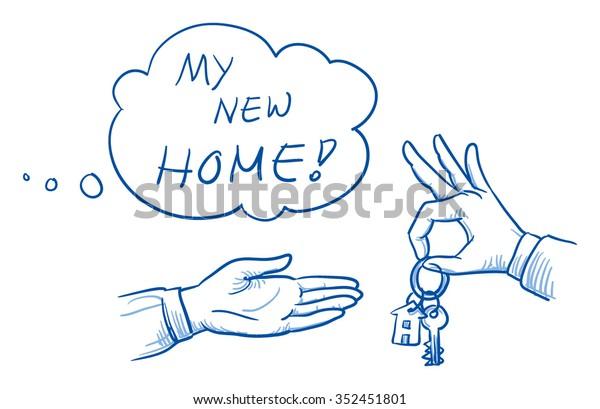 Hand des Geschäftsmanns, der dem Kunden mit Denkblase Haus von flachen Schlüsseln gibt. handgezeichnete Vektorgrafik-Illustration