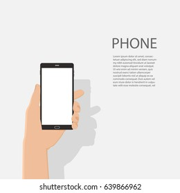 hand of business man hold phone and touch smartphone,business concept,flat design