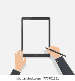hand of business man hold tablet and stylus pen,flat design