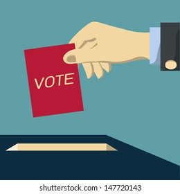 Hand of business man voting ballot with box. Vector illustration.