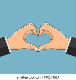 hand business  shaped heart Love Symbol