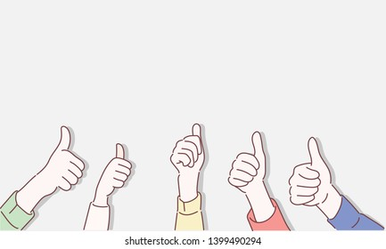 Hand of business team work tumb up isolated on white background. Hand drawn style vector design illustrations.