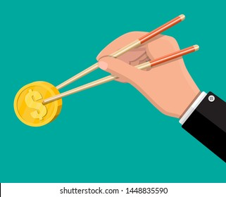 Hand of businessman with chopsticks with gold coin. Money concept of savings, donation, paying. Symbol of wealth. Vector illustration in flat style