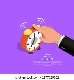 The hand of the businessman clicks an alarm clock call. Operating time. Business concept. An isometric vector illustration in flat style.3D. Elements for design.