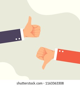 Hand of businessman with dislike and thumbs up feedback vector illustration