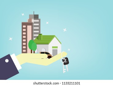 Hand of businessman gives home, apartment, condo, car and key to customer. People use money or investment for future concept. cartoon design for vector.