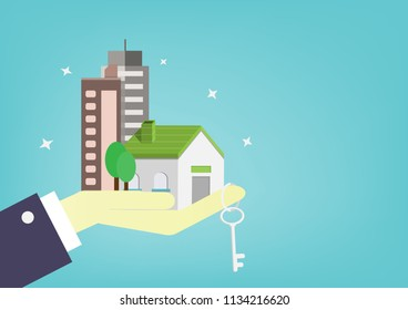 Hand of businessman gives home, apartment, condo and key to customer. People use money for buy  residence to the future . cartoon design for vector.