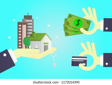 Hand of businessman gives home, apartment, condo and key to customer. People use money or investment for future concept. cartoon design for vector.
