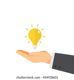 hand of businessman giving idea concept vector illustration
