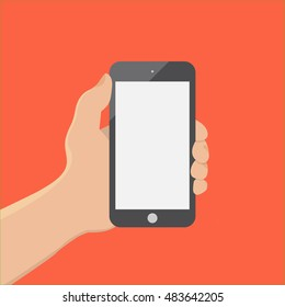 hand of businessman hold phone and touch phone ,business concept,flat design,vector eps10
